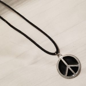 Silver Tone Black Peace Sign Necklace